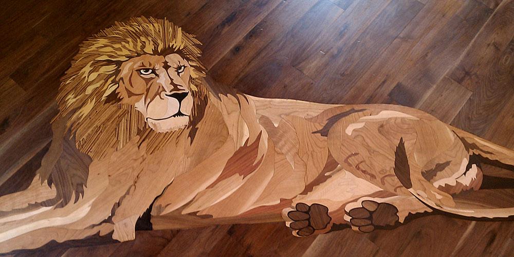 lion wood flooring design   wood floor inlaid medallion