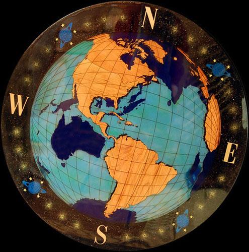 globe wood flooring medallion fantasy globe nautical medallion